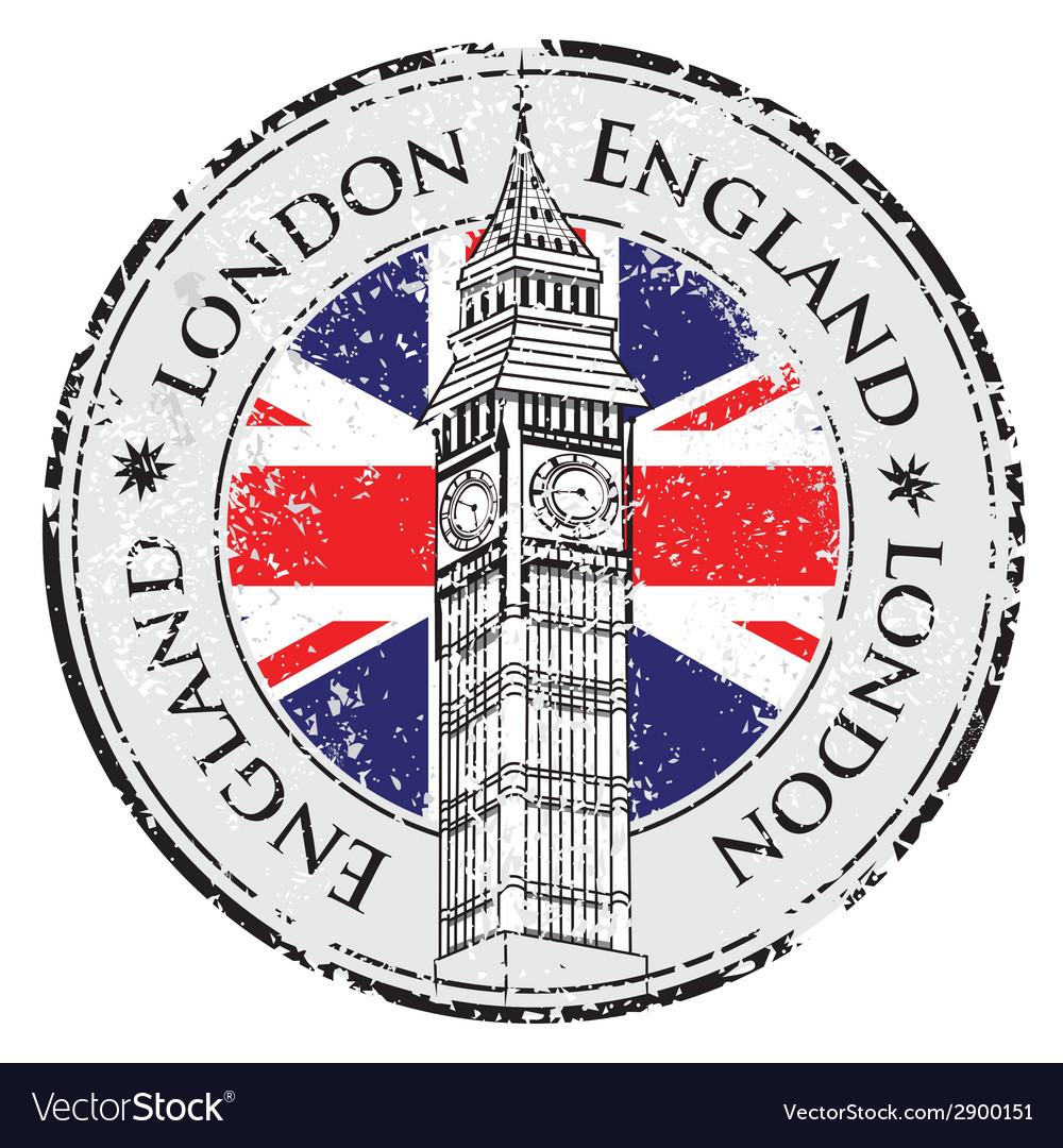Rubber grunge stamp London Great Britain Big Ben