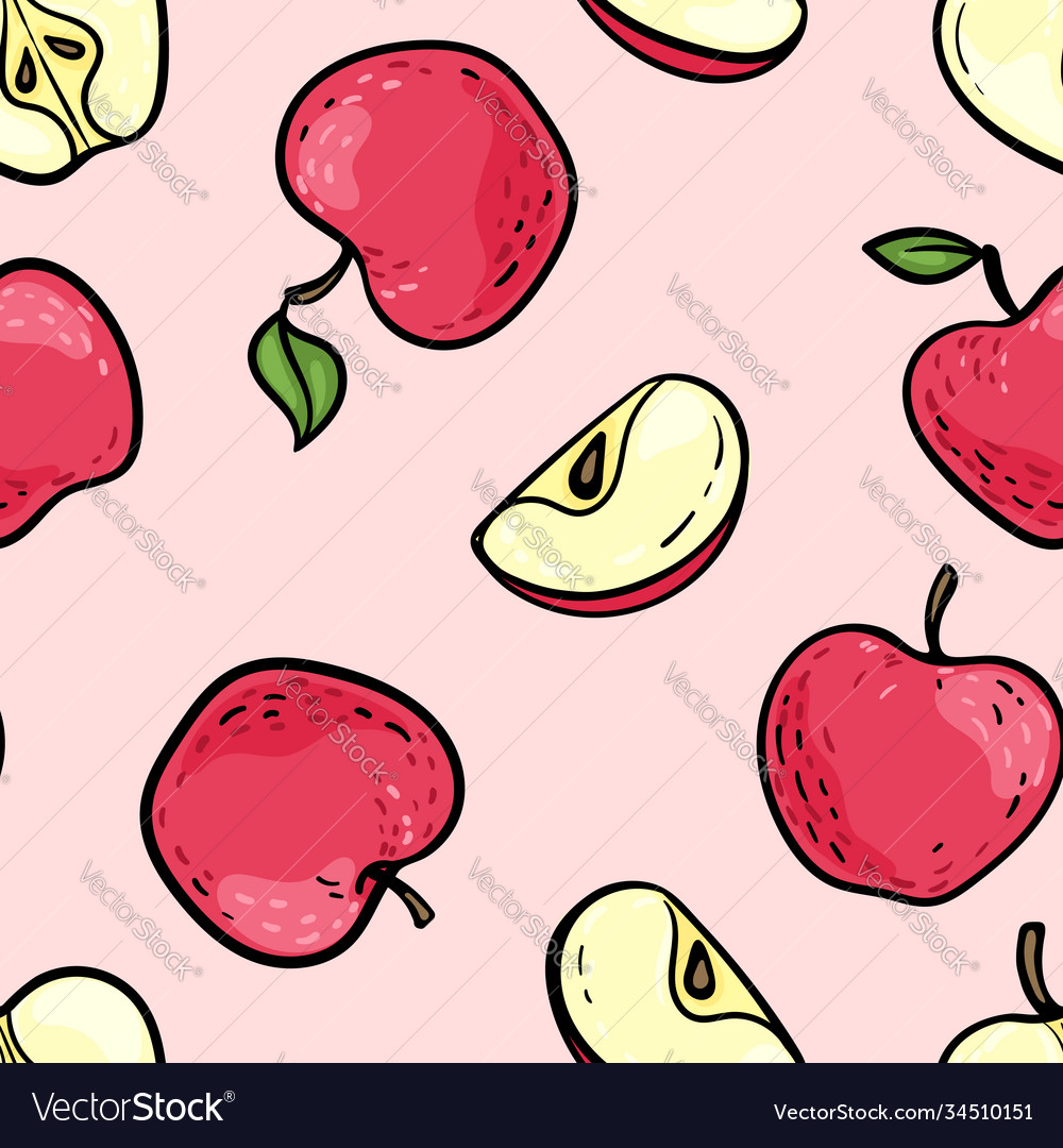 Seamless pattern with cute doodle red and pink