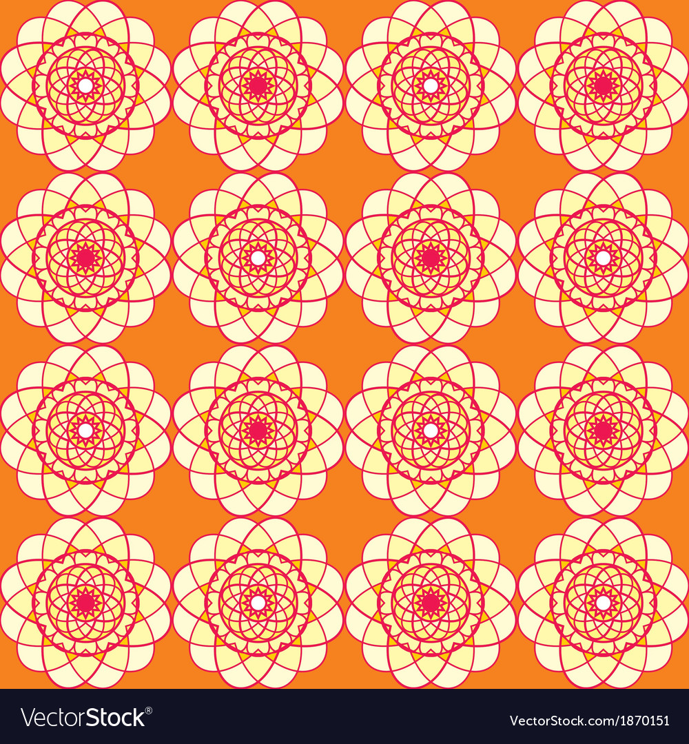 Spirographic orange seamless background
