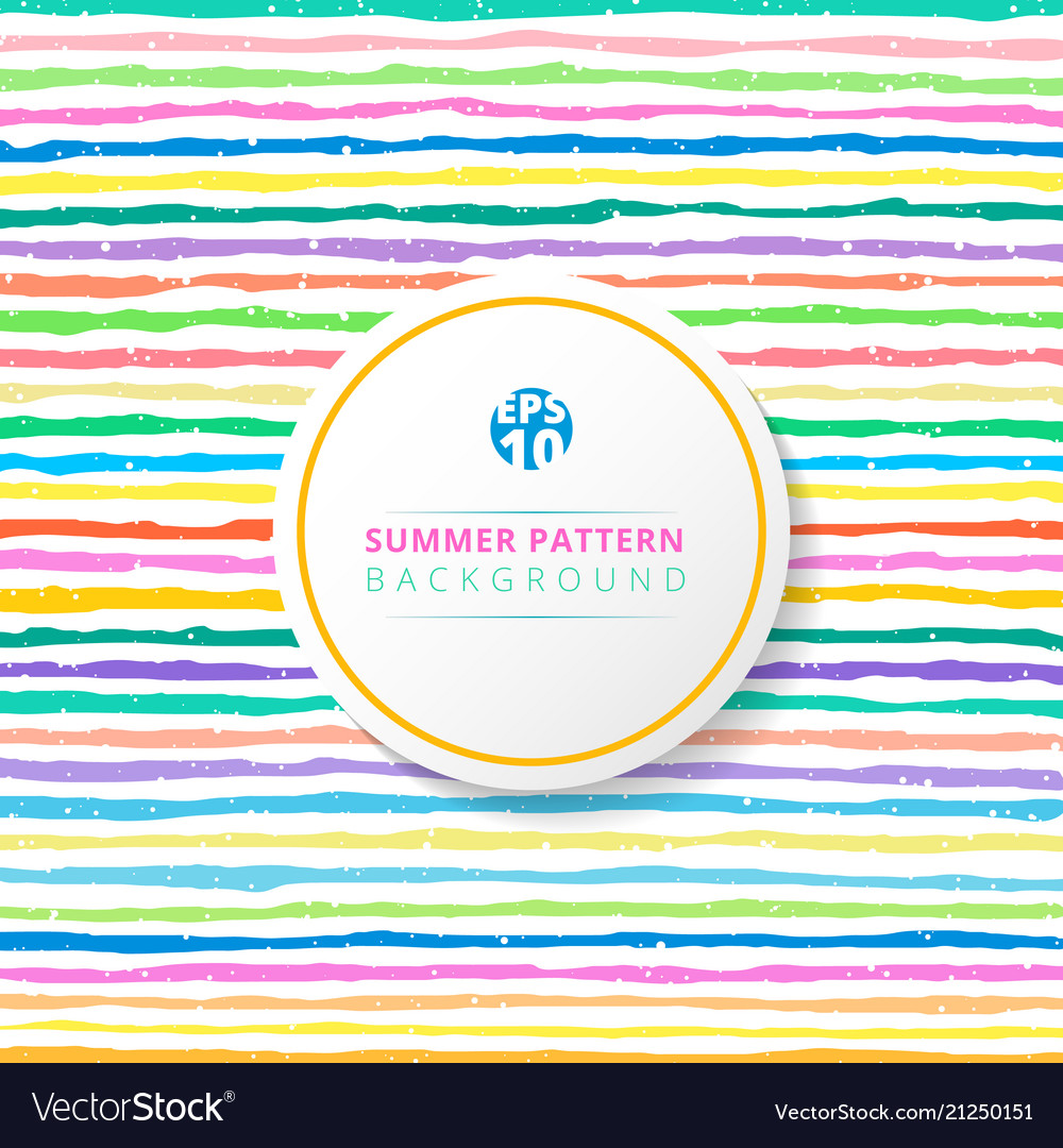 Summer striped pattern colorful on white
