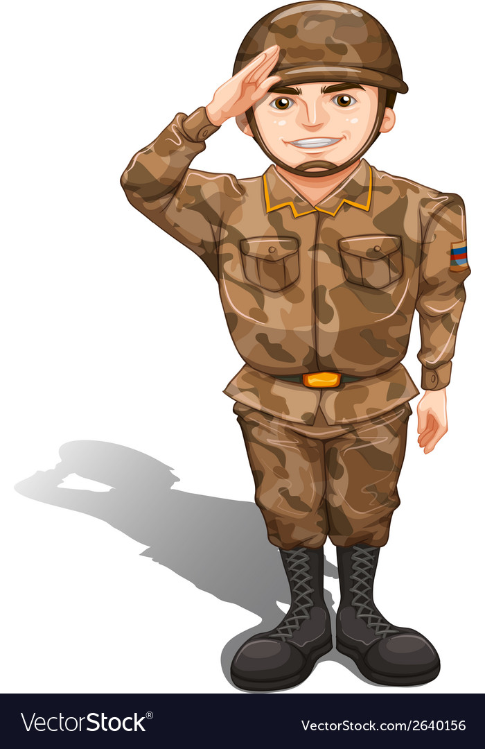A soldier demonstrating a hand salute