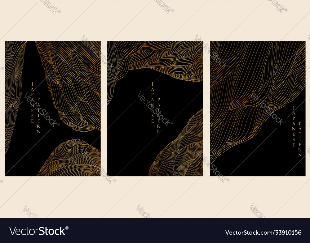 Abstract landscape background japanese wave