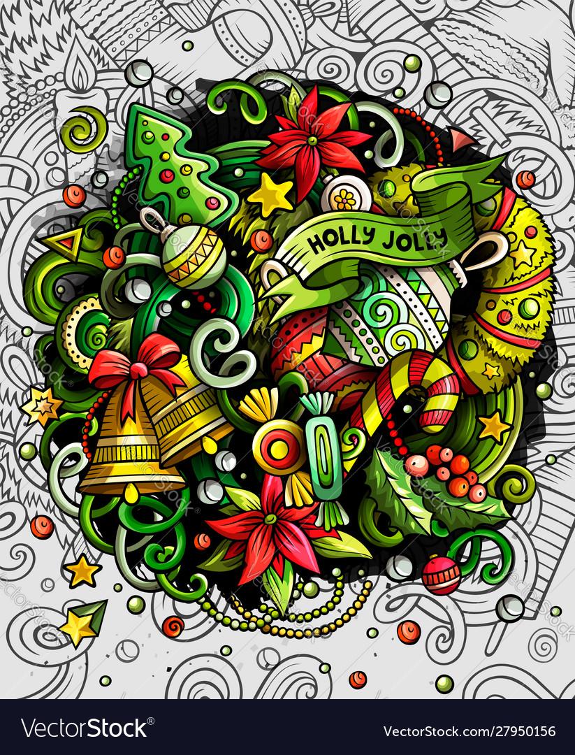 Cartoon cute doodles happy new year