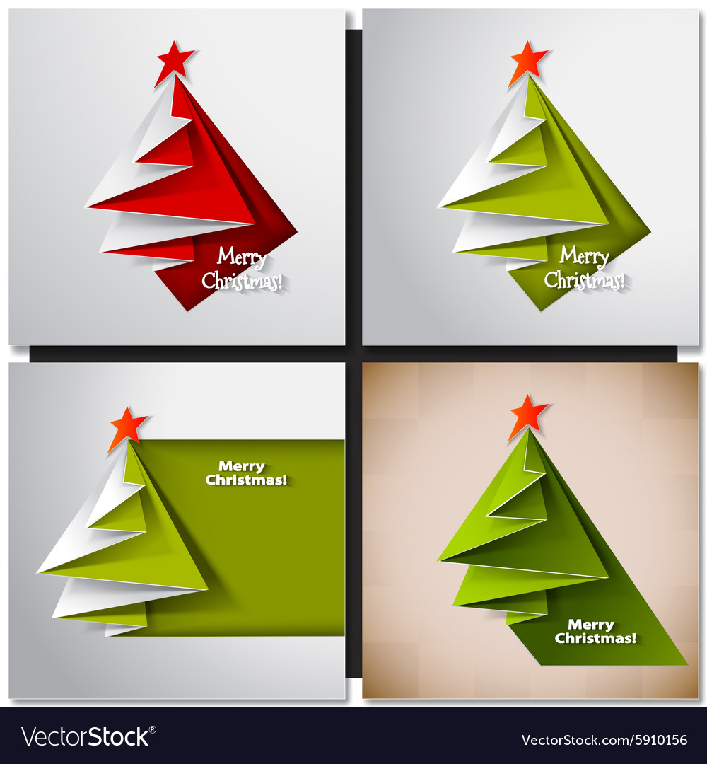 Christmas tree card origami Royalty Free Vector Image