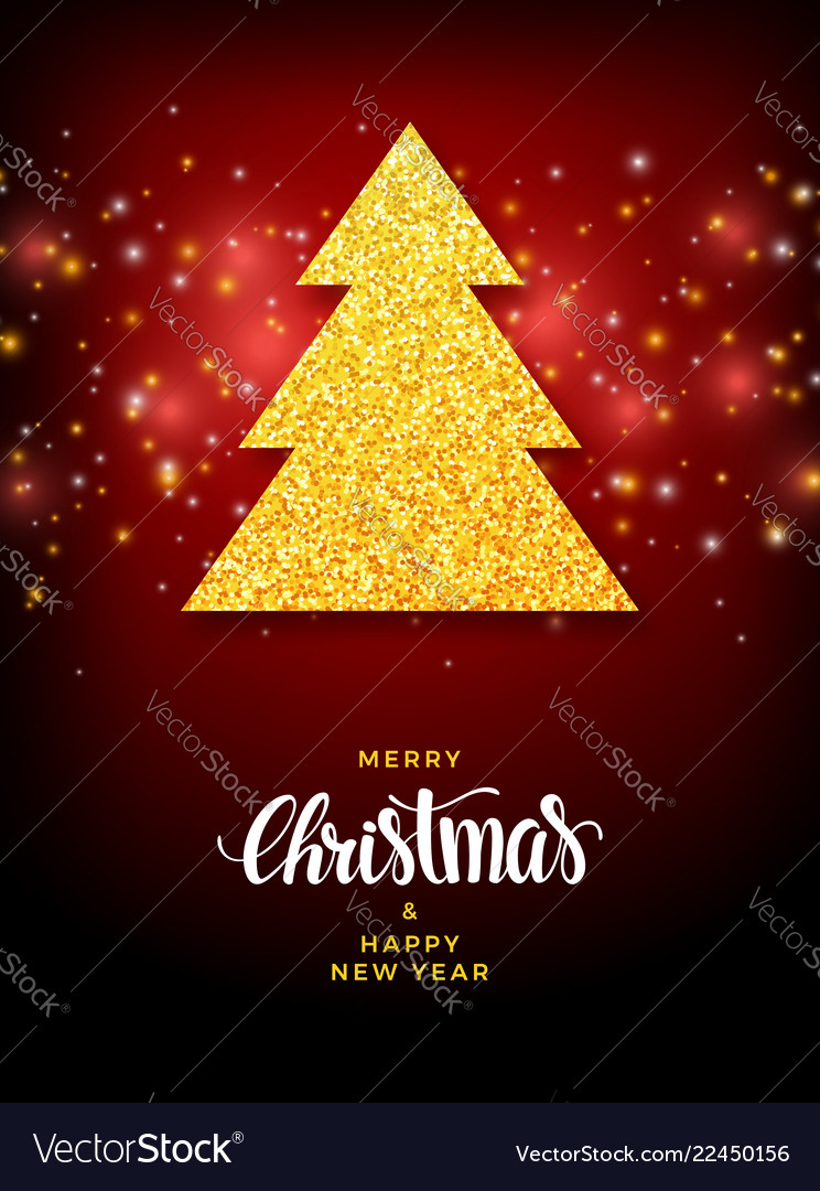 Christmas tree with glitter fill background