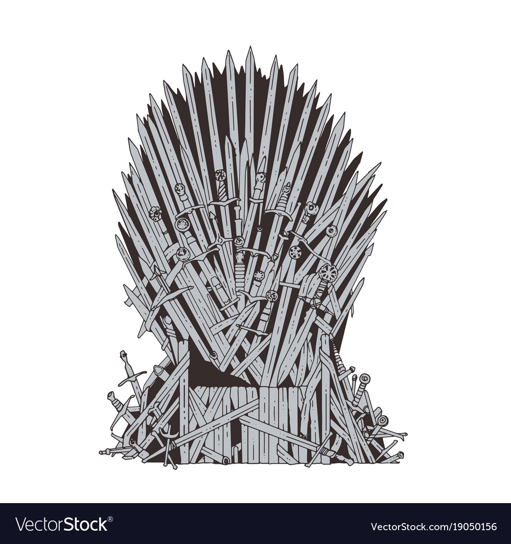 Hand drawn iron throne of westeros made of antique vector image