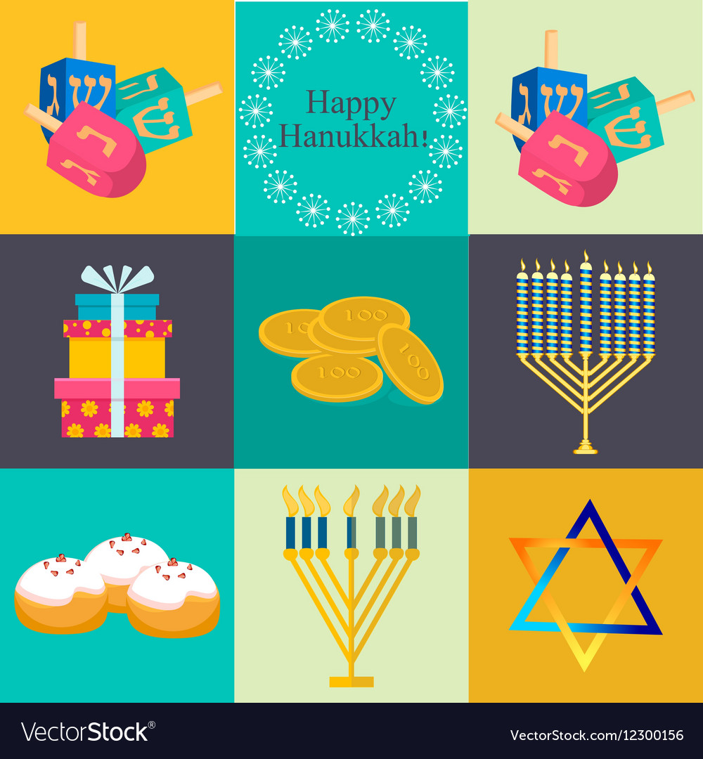 Hanukkah Traditional Symbols Jewish Icons Set Vector Image