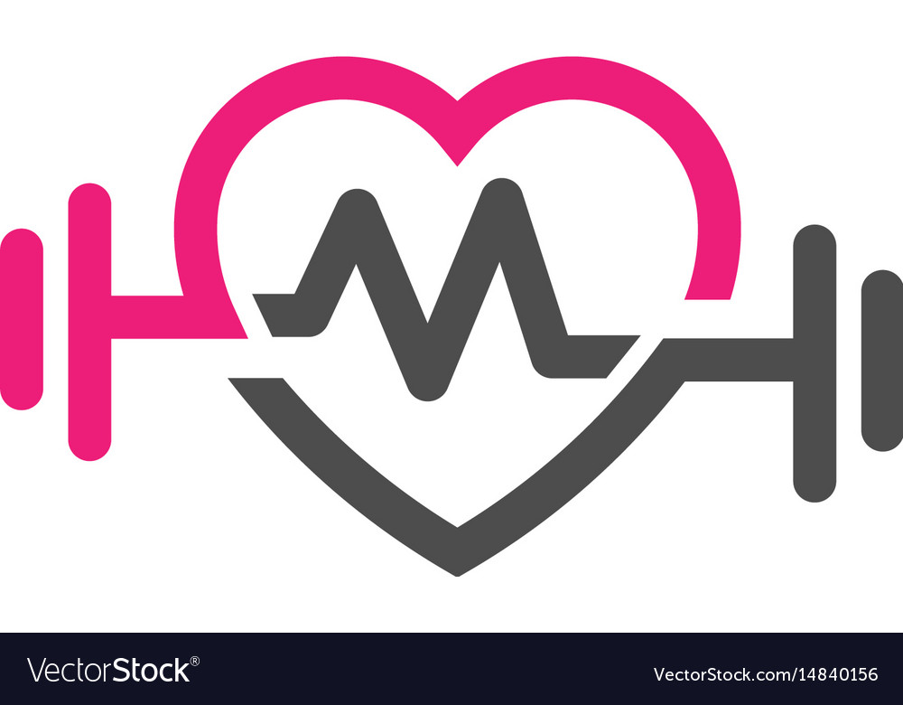 Love Fit With Pulse Logo Letter M Vector Image