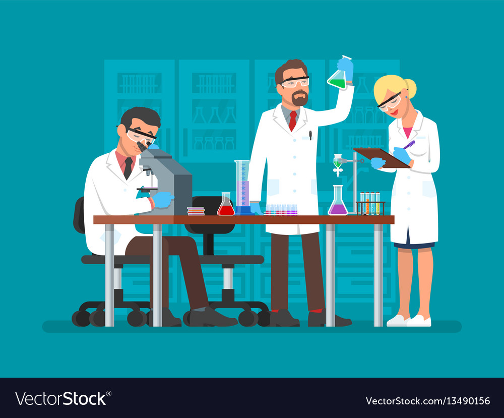scientists working at royalty free vector image vectorstock