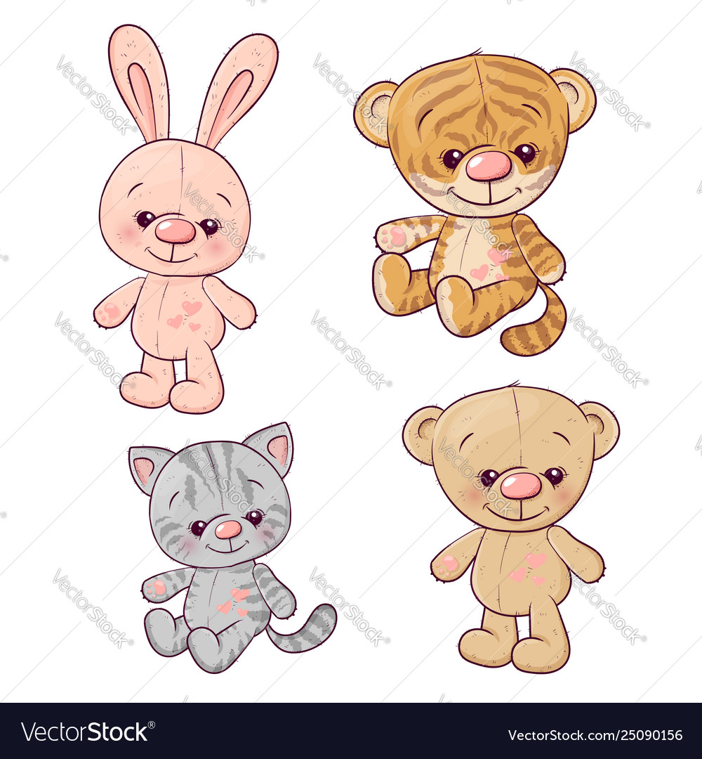 Set tiger cub kitten teddy bear hare hand drawing