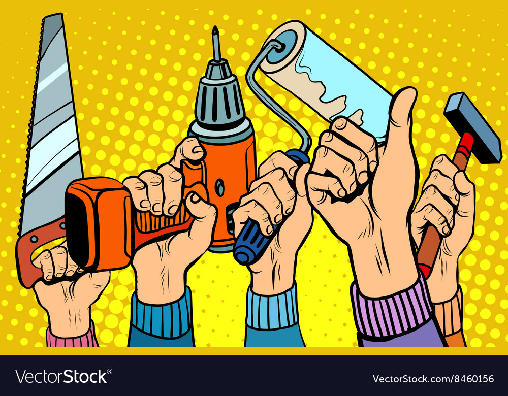 Tools saw drill paint roller hammer vector image