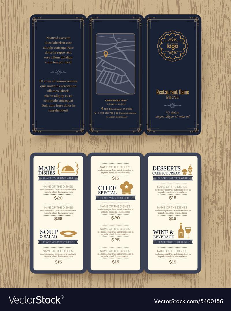 Vintage Restaurant menu design pamphlet
