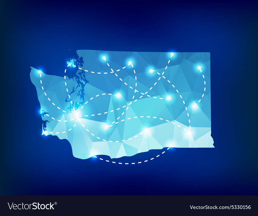 Washington state map polygonal with spotlights