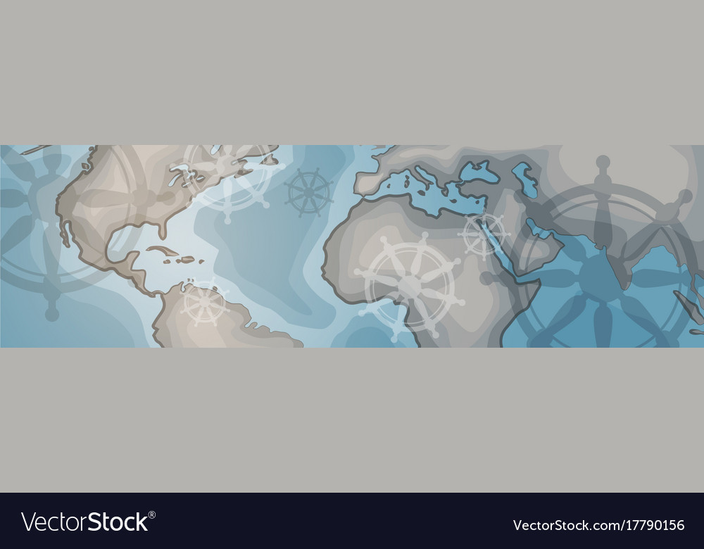 World Map Horizontal Banner Retro Vintage Style Of
