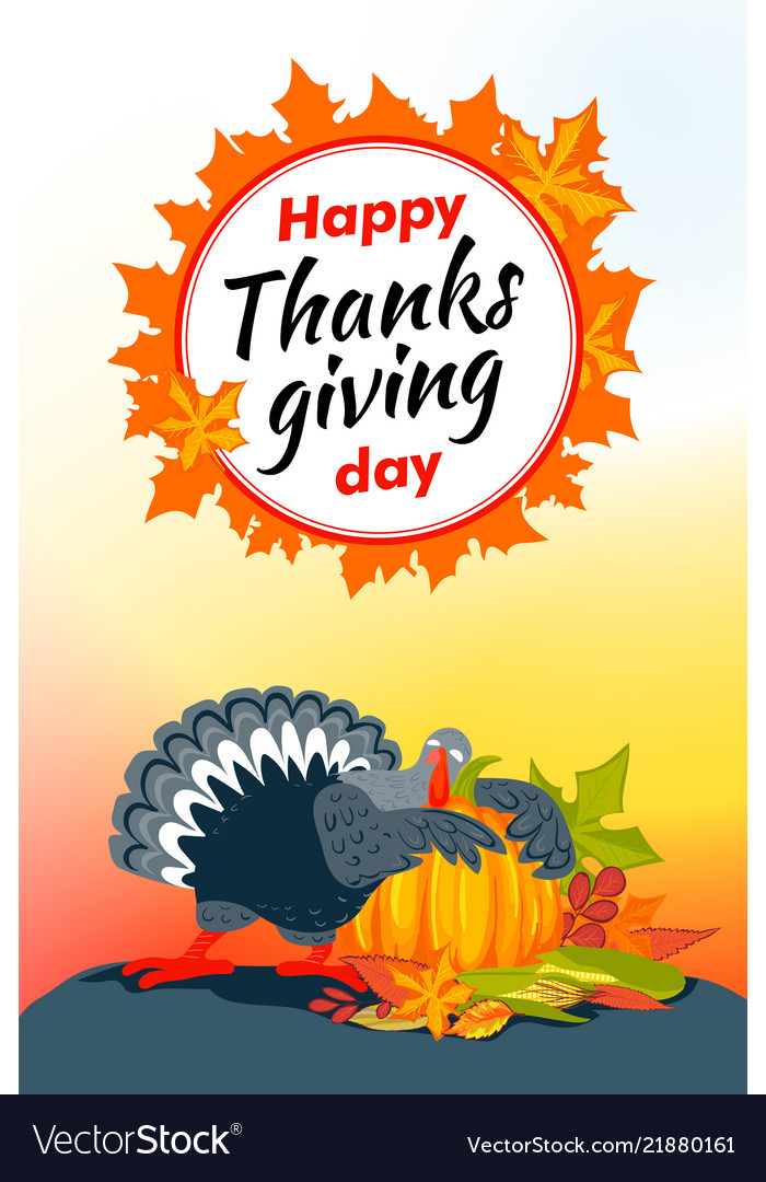 Autumn thanksgiving day vertical banner cartoon