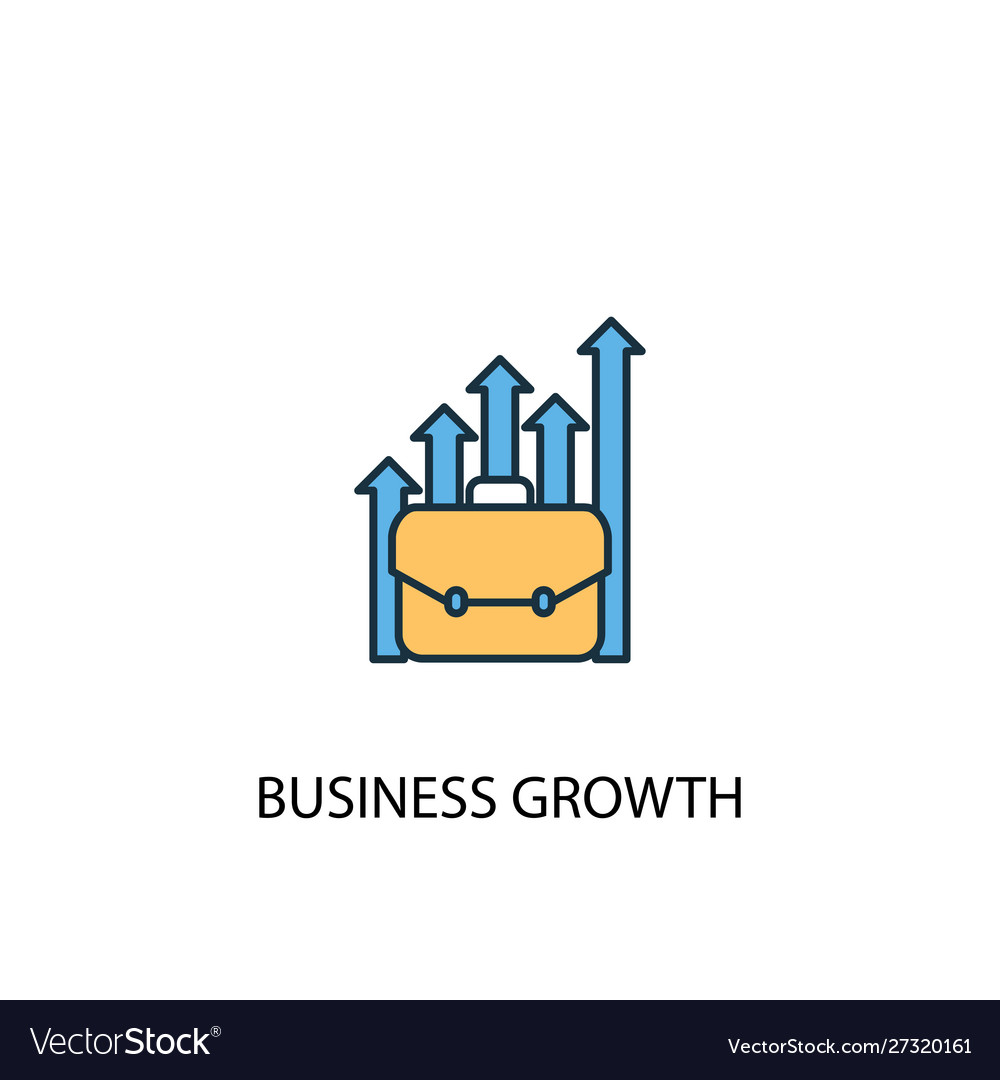 Business growth concept 2 colored line icon