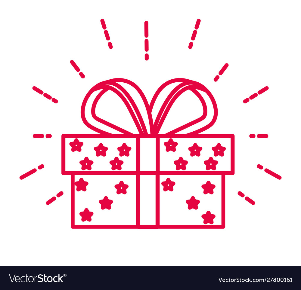 Christmas present and gift box with bow ribbon