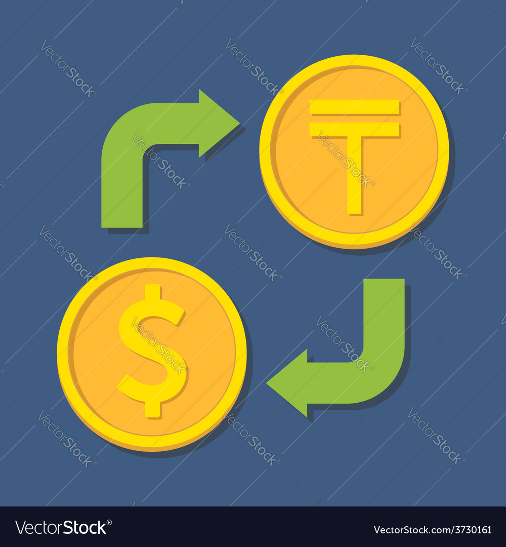 Currency Exchange Dollar And Tenge Vector Image