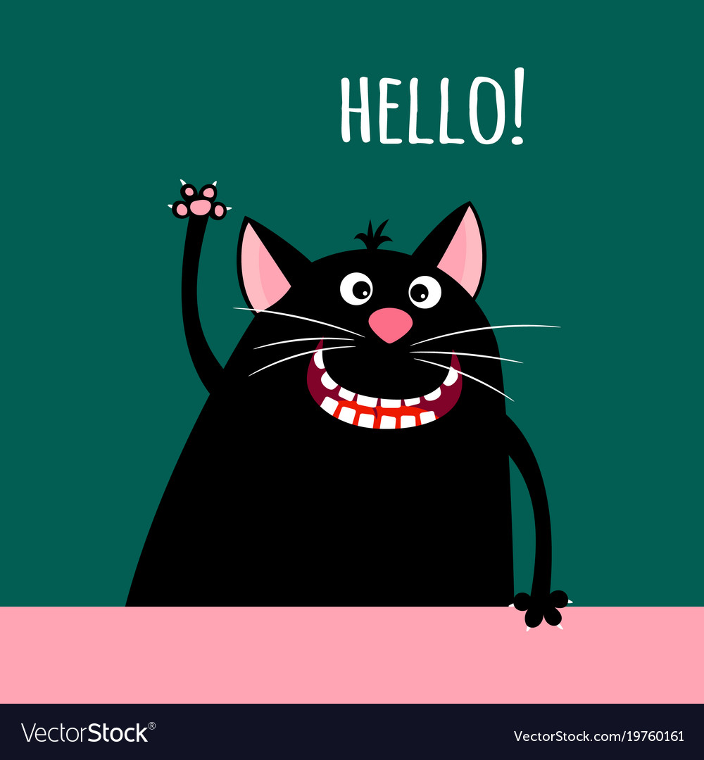 Greeting card with smiling cartoon cat
