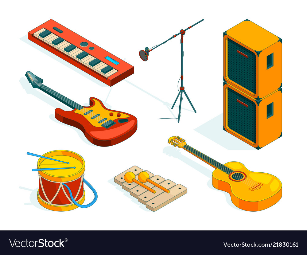 Isometric music tools pictures instruments