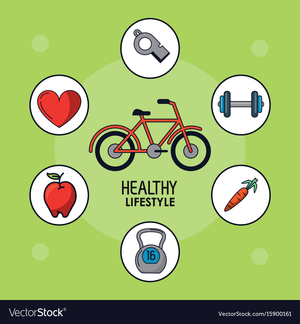Light green poster of healthy lifestyle with