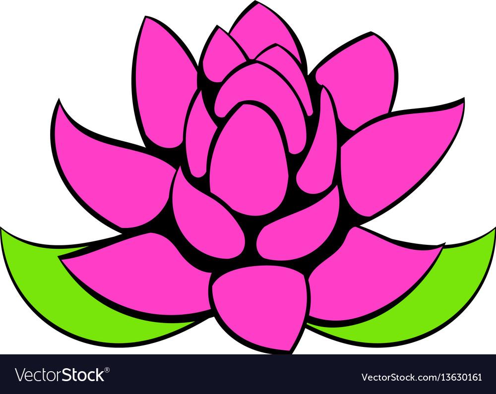Lotus Flower Icon Cartoon Royalty Free Vector Image