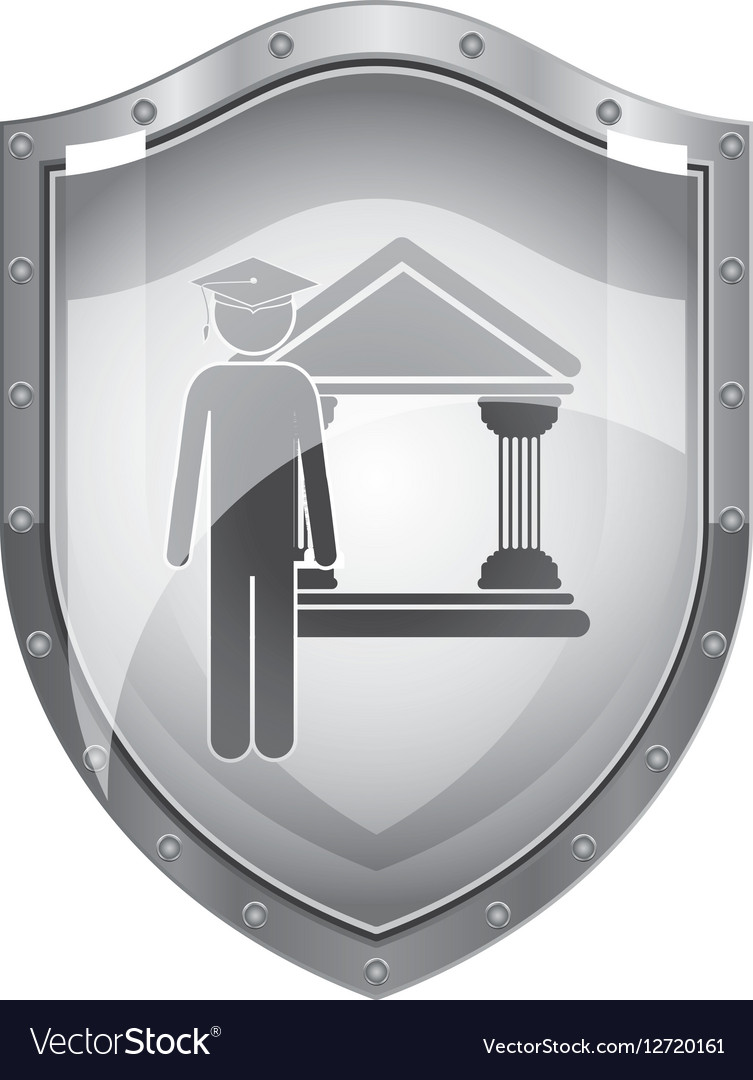 Metallic shield of lawyer with graduation hat