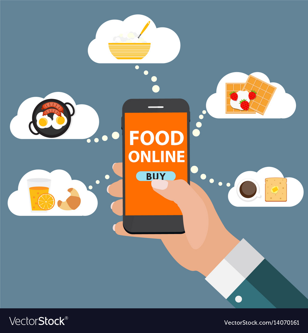 Mobile apps concept online food delivery shopping