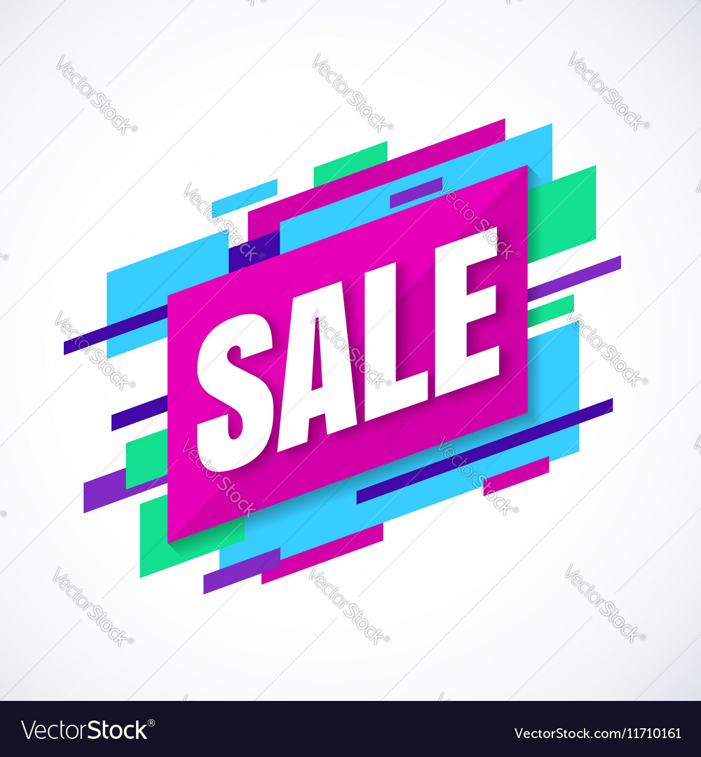 Sale banner colroful abstract shapes