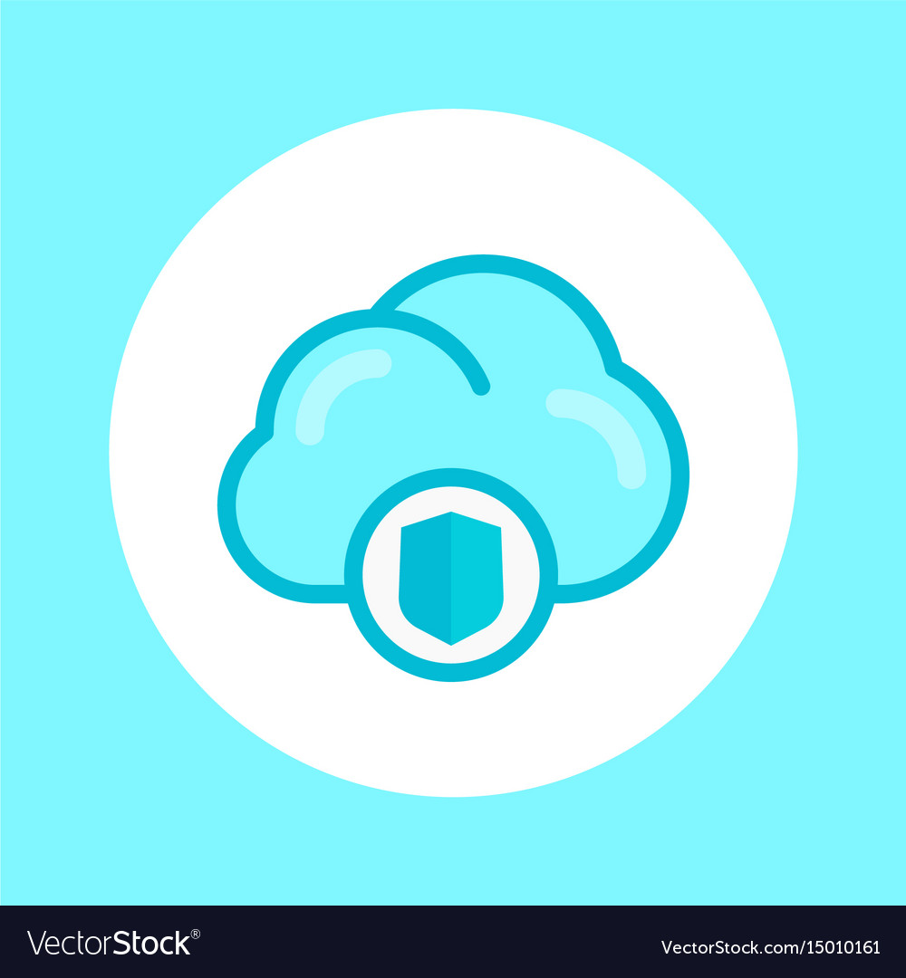 Secure cloud icon in flat style