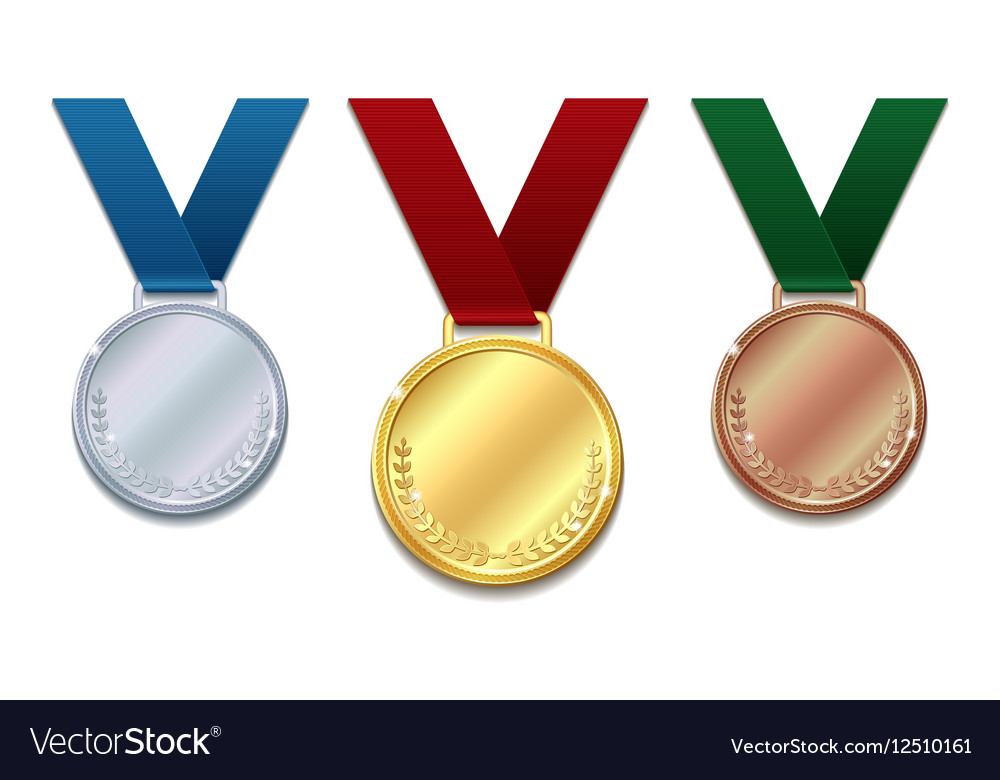 Set of gold silver and bronze medals