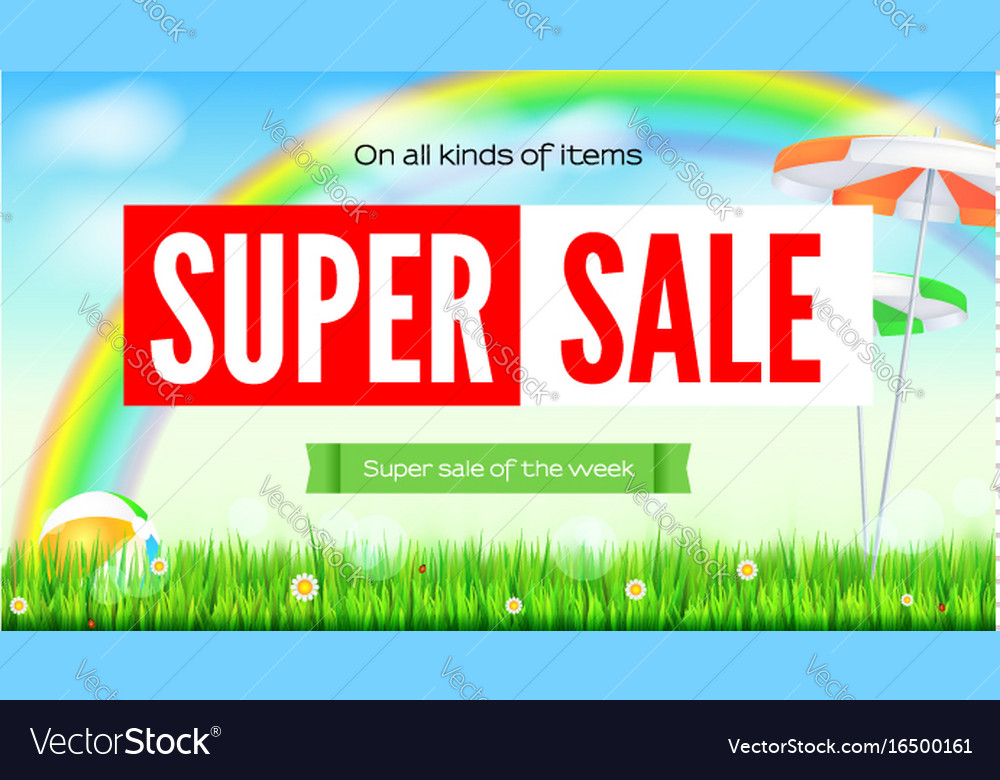 Super sale summer background sale of all items vector image