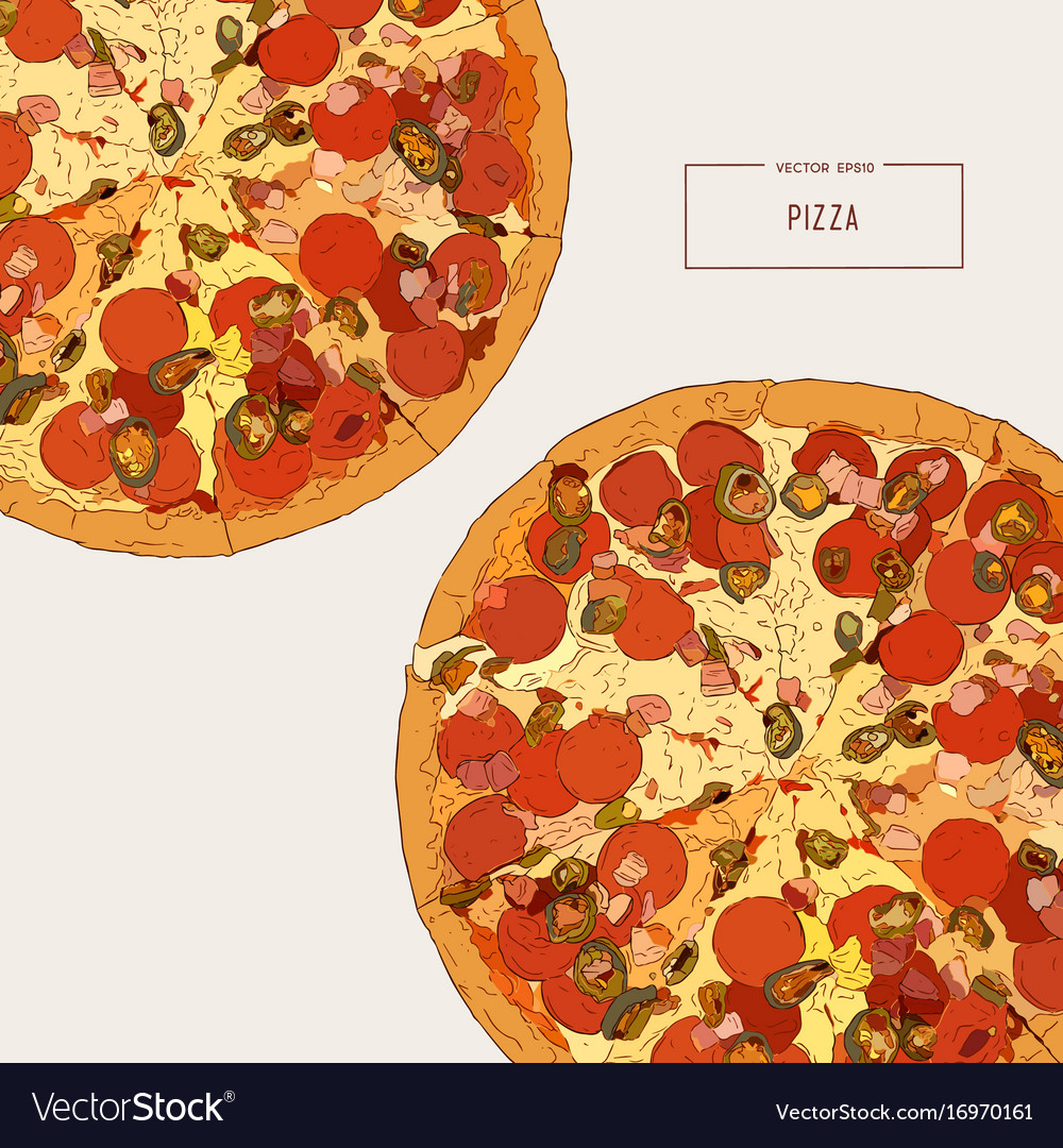 Top view of pizza sketch