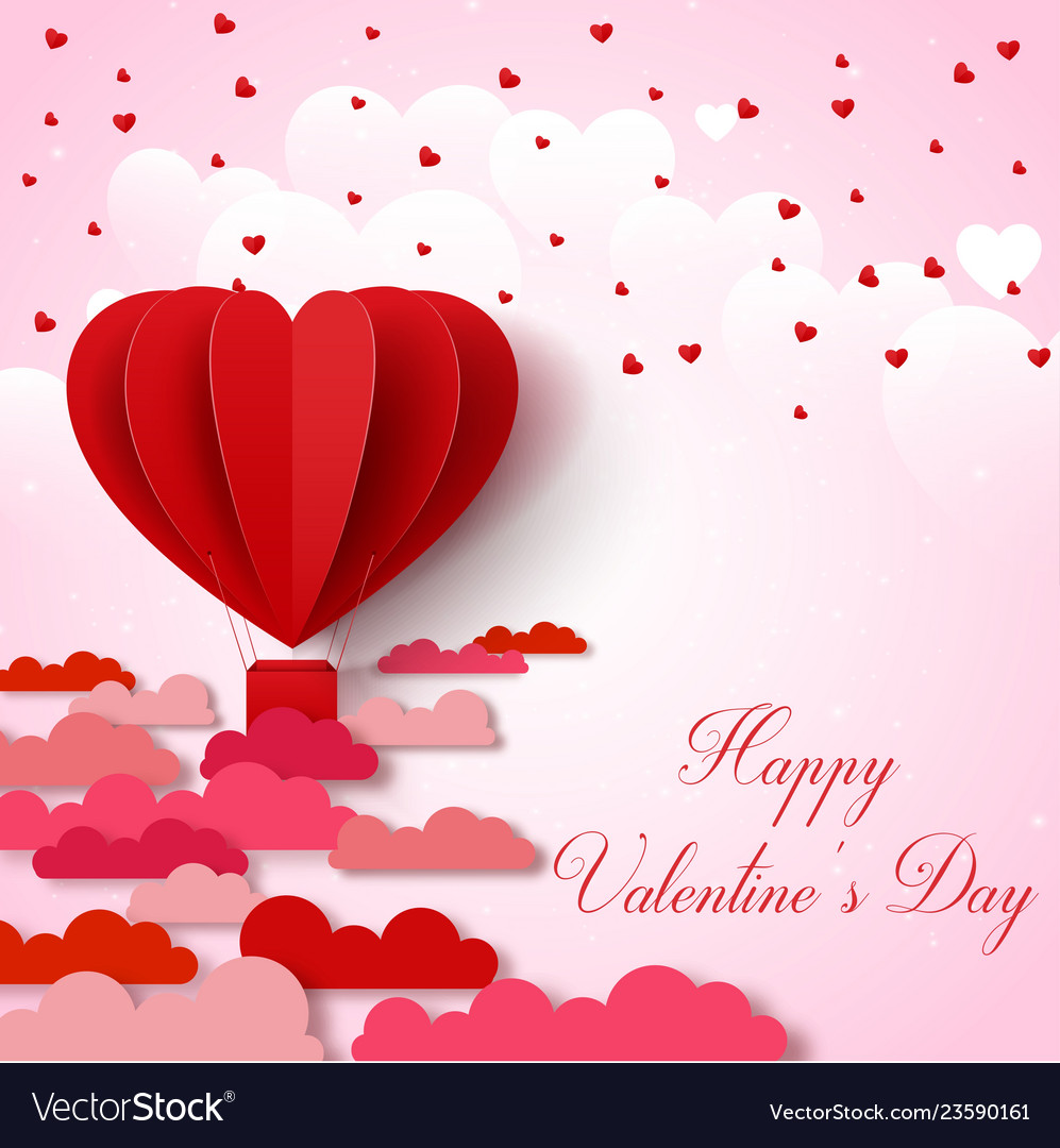 Valentines day background with pink and red folded