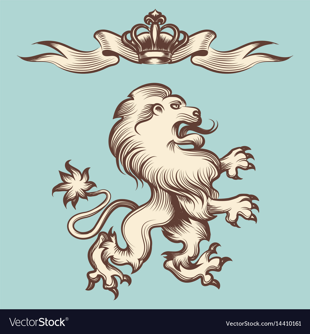 Vintage engraving lion with crown vector image