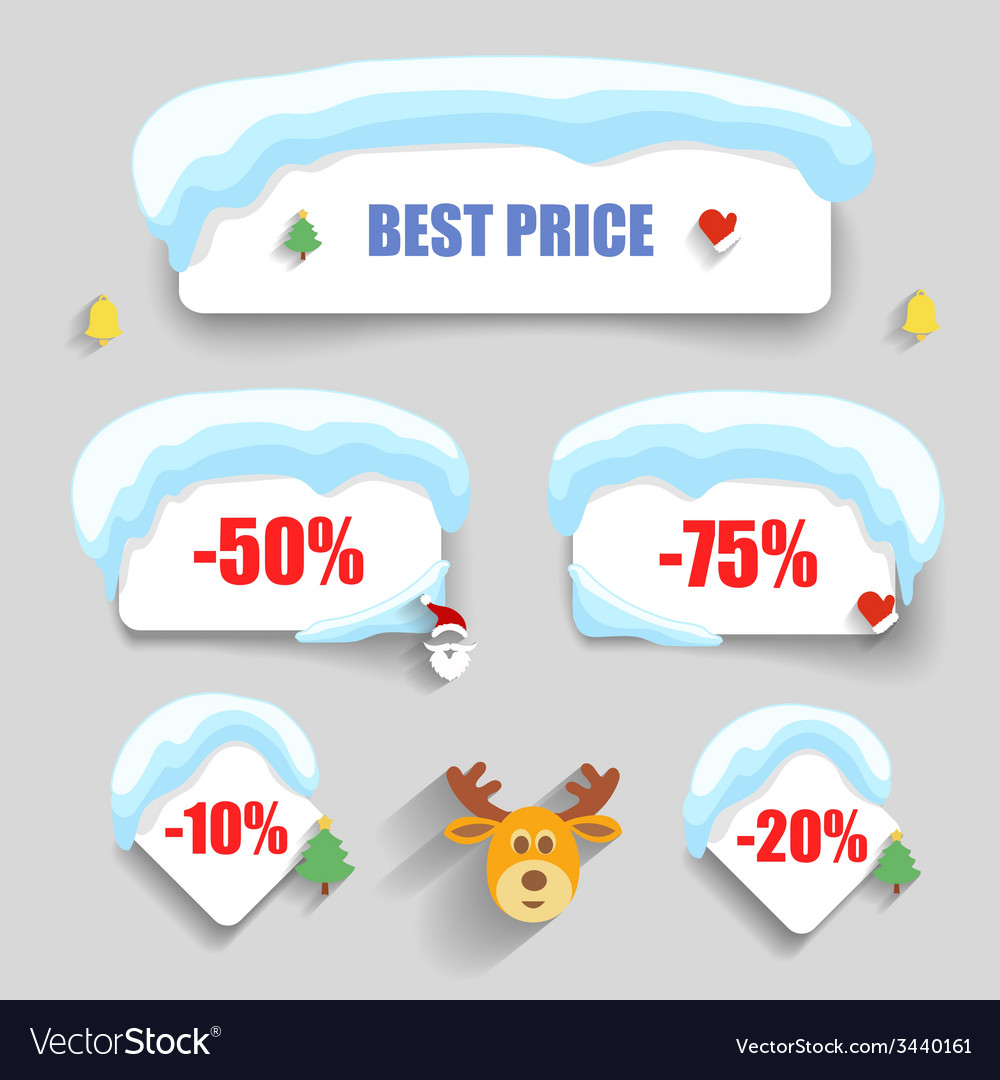 Winter design Christmas sale stickers discounts