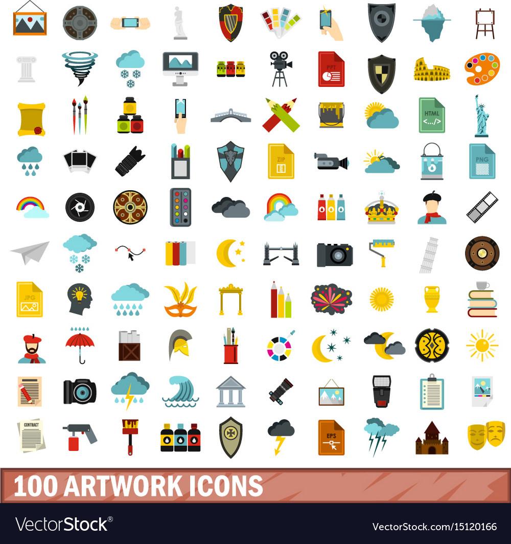 100 artwork icons set flat style vector image