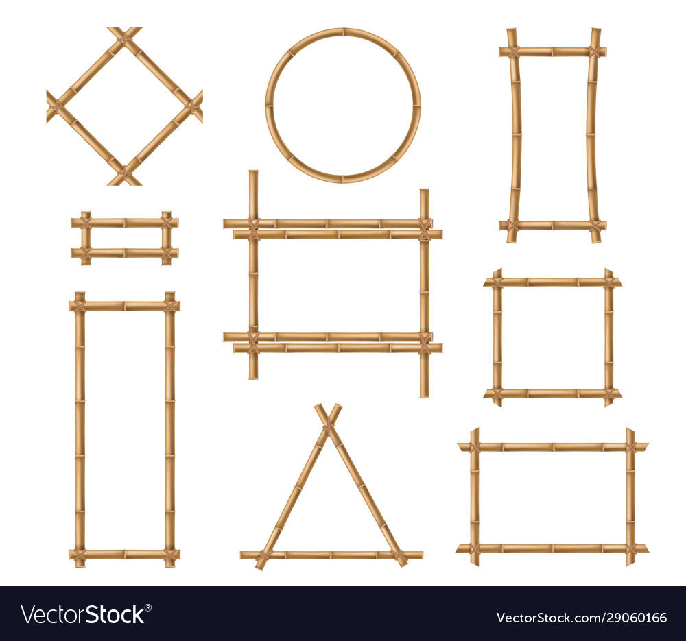 Bamboo frame wooden brown bamboo stick square