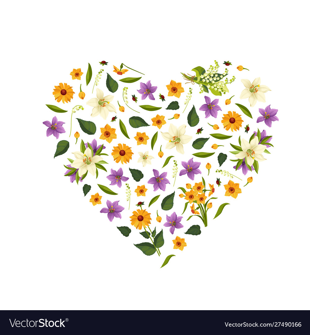 Beautiful wild flowers pattern heart shape