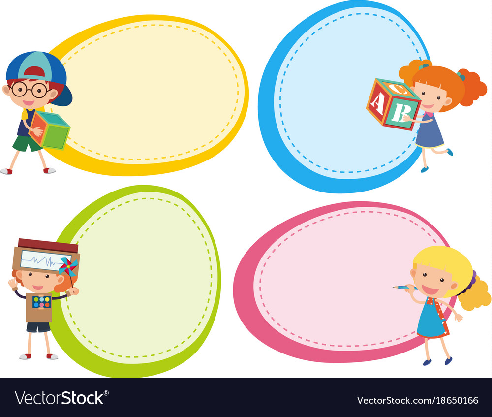 Border templates with cute boys and girls vector image maxwellsz