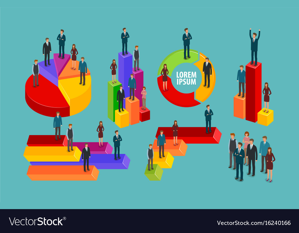 Business infographic chart graph people
