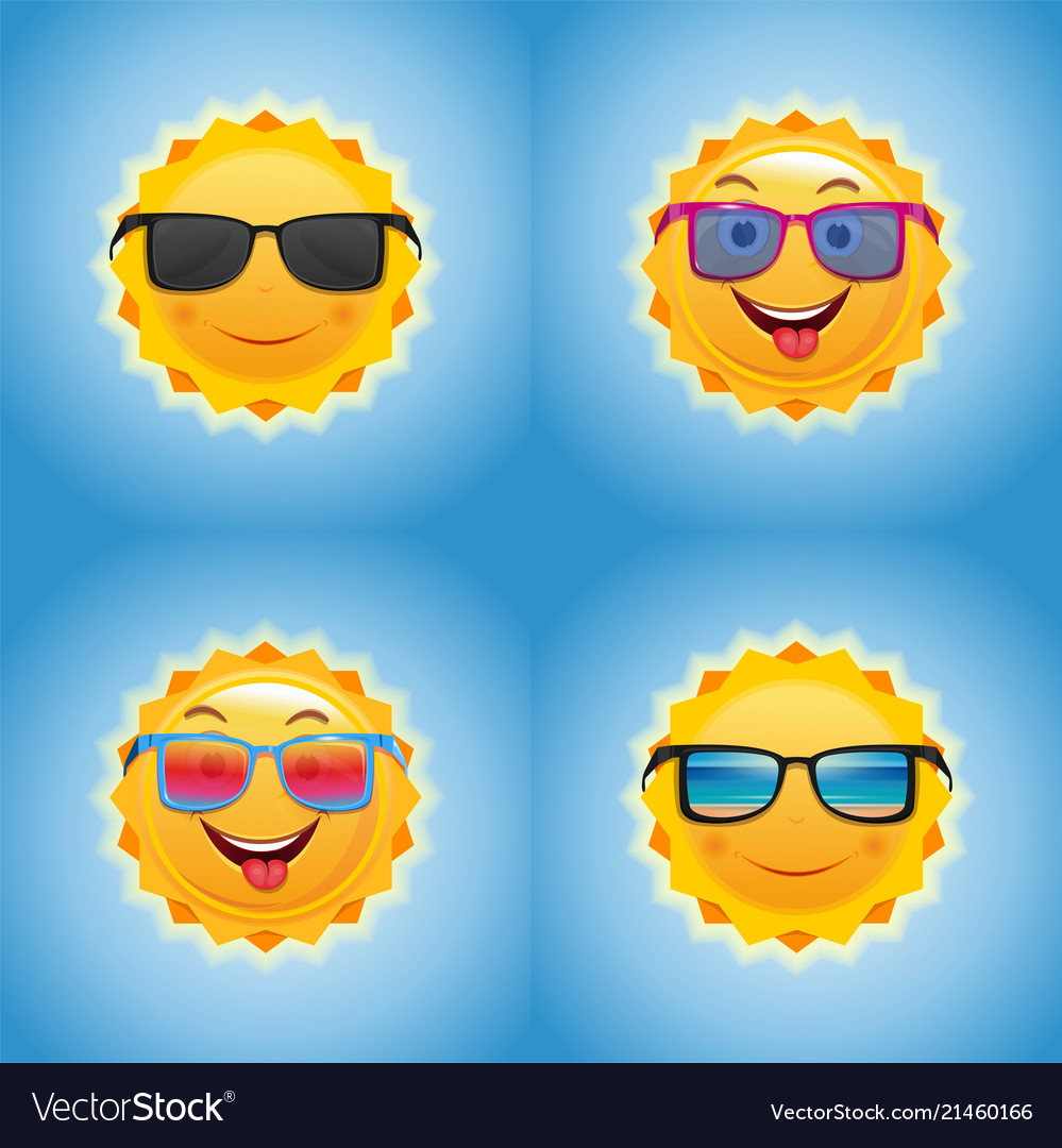 Cheerful smiling sun icons set
