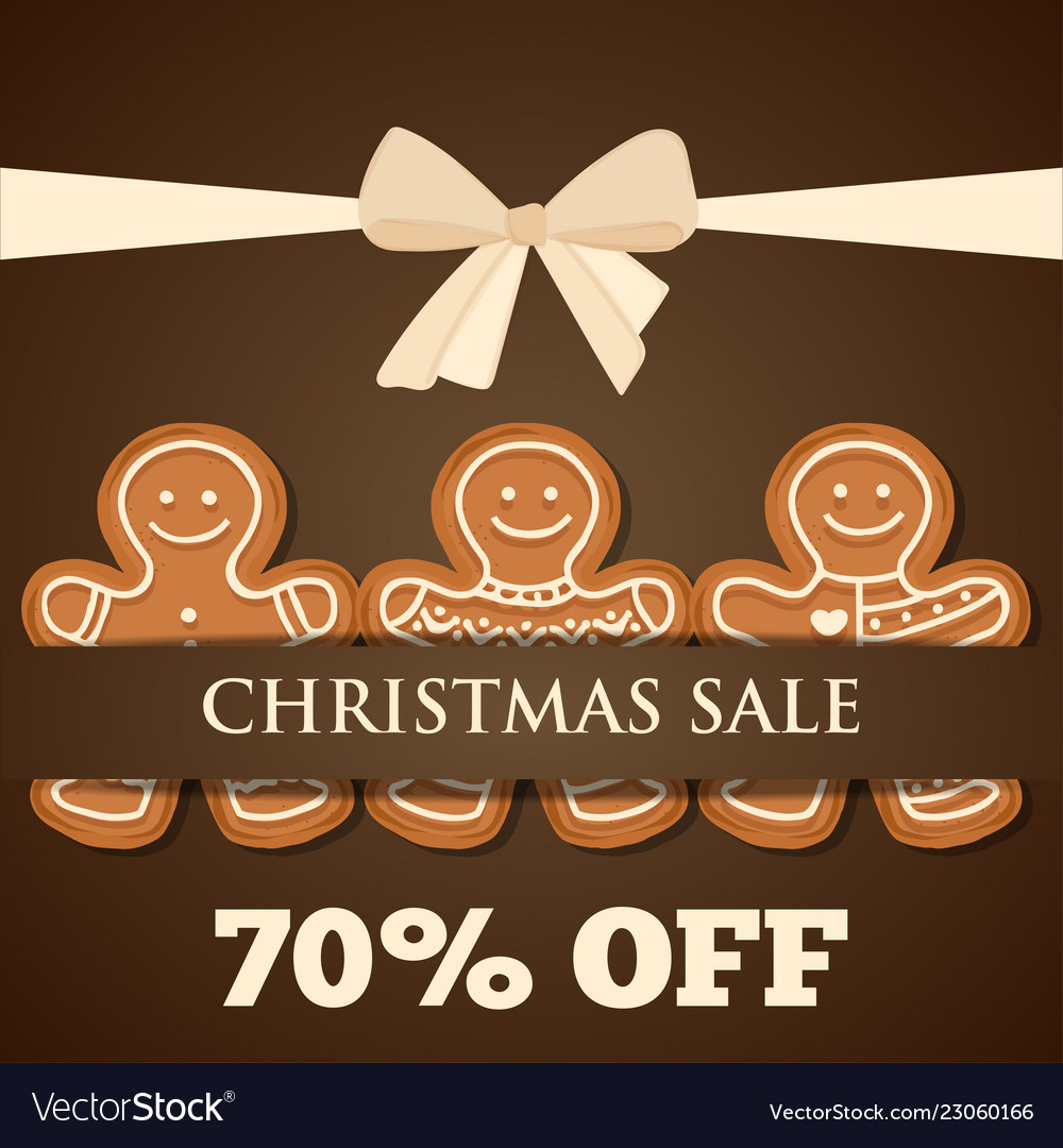 Christmas sale poster with gingerbread man