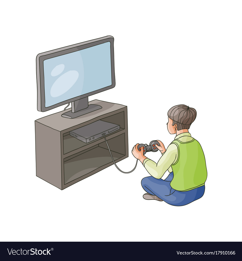 Gave Tv Meubel.Flat Boy Playing Game Console On Tv