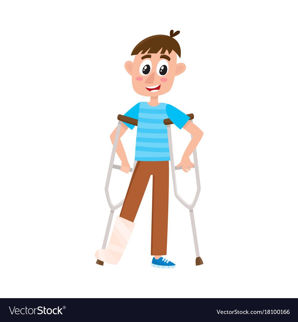 flat boy with broken leg on crutches royalty free vector rh vectorstock com broken leg cartoon gif broken leg cartoon images