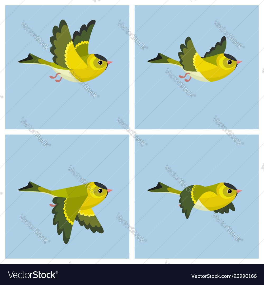Flying european siskin male animation sprite