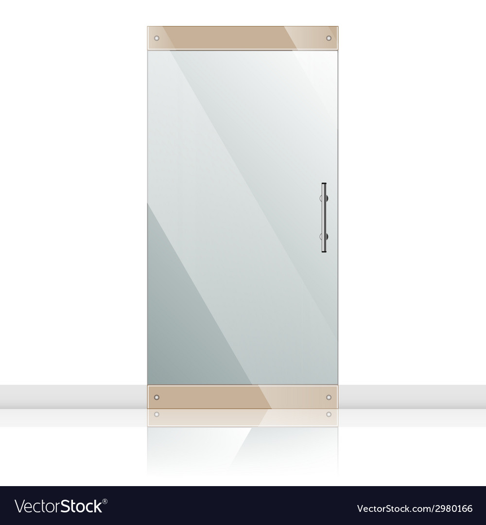 Glass door with chrome silver handles set vector image