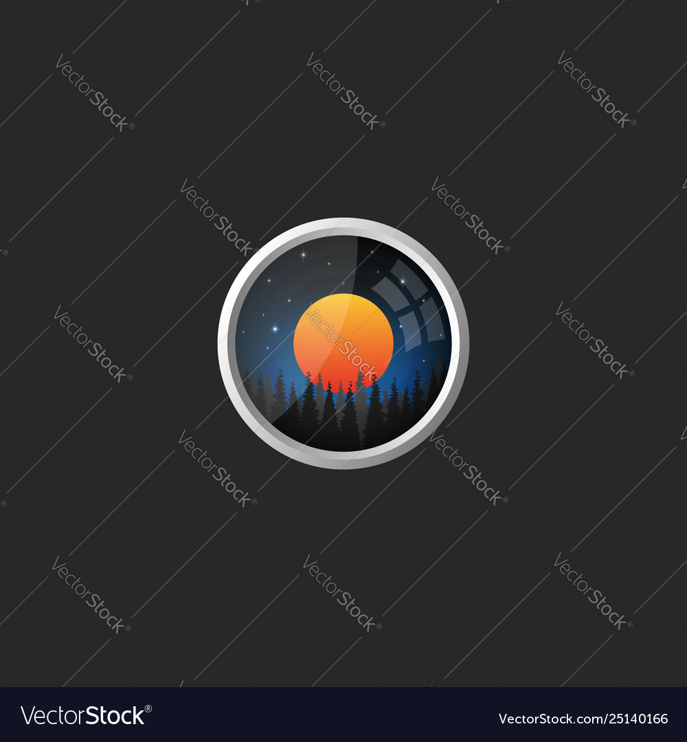 Landscape logo a night sky with stars and a