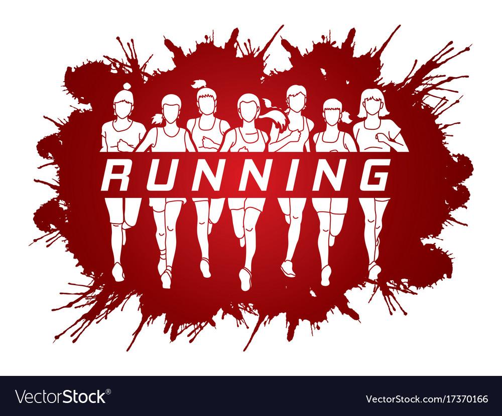 Marathon runners group of women running with text