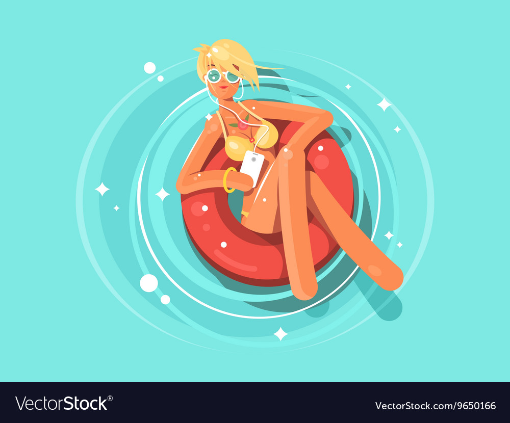 Pretty woman swims on an inflatable circle vector image